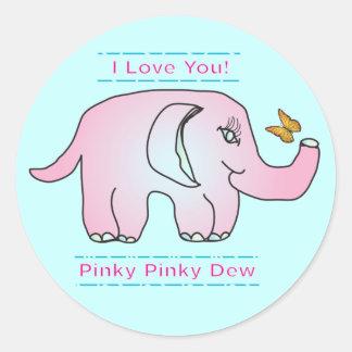 Pegatinas del elefante rosado etiqueta redonda