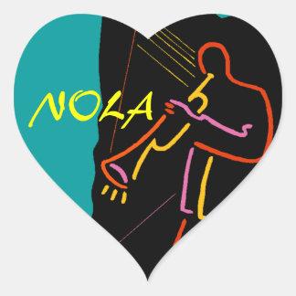 Pegatinas del equipaje del viaje de NOLA del jazz Pegatina En Forma De Corazón