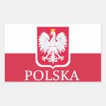 Pegatinas del escudo de armas de la bandera de Pol Rectangular Pegatinas