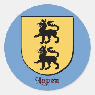 Pegatinas del escudo de la familia de López Pegatina Redonda