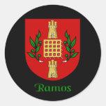 Pegatinas del escudo de la familia de Ramos Pegatina Redonda