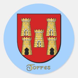 Pegatinas del escudo de la familia de Torres Pegatina Redonda