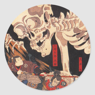 Pegatinas del esqueleto de Kuniyoshi Pegatina Redonda