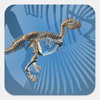 Pegatinas del esqueleto del dinosaurio del rex del pegatina cuadrada