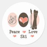 Pegatinas del esquí del amor de la paz pegatinas redondas