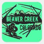 Pegatinas del esquí del verde de mar de Colorado Calcomania Cuadradas