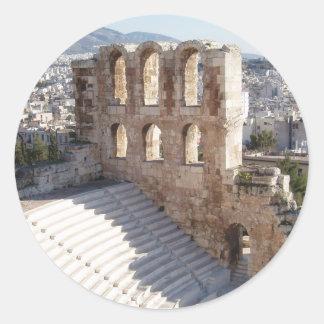 Pegatinas del estadio de la acrópolis etiquetas redondas