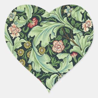 Pegatinas del estampado de flores de William Pegatina En Forma De Corazón