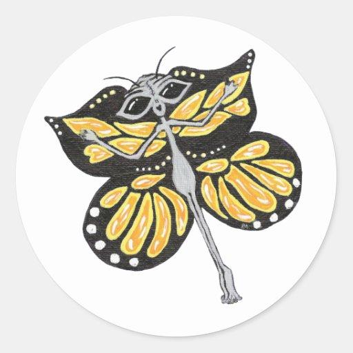 Pegatinas del extranjero de la mariposa etiqueta redonda