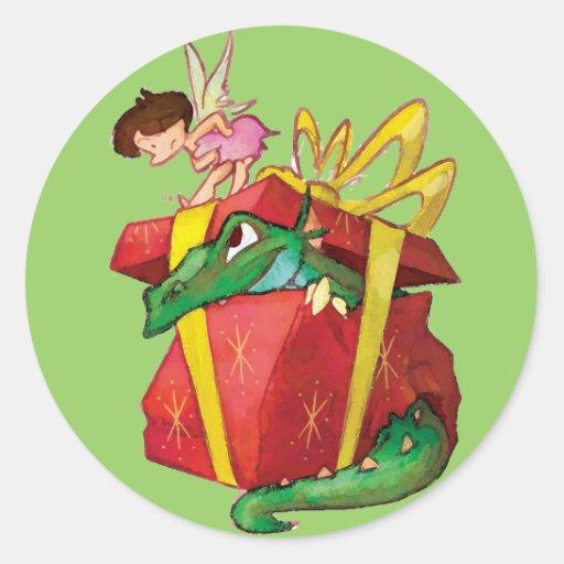 Pegatinas del Faerie del navidad de los niños Pegatinas Redondas