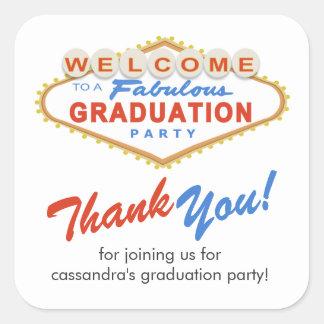 Pegatinas del favor de fiesta de graduación de Las Pegatina Cuadrada