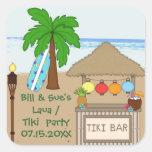 Pegatinas del favor de fiesta de Laua/de Tiki Pegatina Cuadradas Personalizada