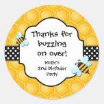 Pegatinas del favor de la fiesta de cumpleaños de etiquetas redondas