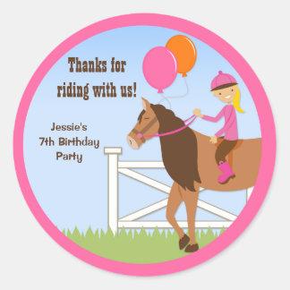 Pegatinas del favor de la fiesta de cumpleaños del pegatina redonda