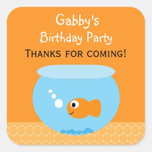 Pegatinas del favor de la fiesta de cumpleaños del pegatina cuadradas personalizadas