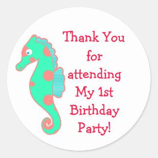 Pegatinas del favor de la fiesta de cumpleaños del etiqueta redonda