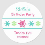 Pegatinas del favor de la fiesta de cumpleaños del