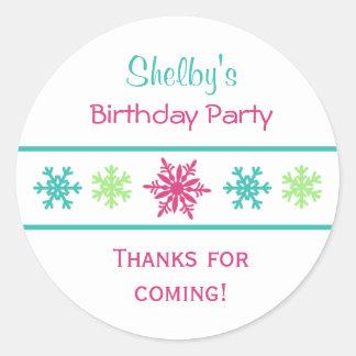 Pegatinas del favor de la fiesta de cumpleaños del etiquetas redondas