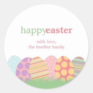 Pegatinas del favor de los huevos de Pascua o Etiqueta Redonda