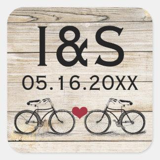 Pegatinas del favor del boda de la bicicleta del pegatina cuadradas