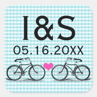 Pegatinas del favor del boda de la bicicleta del pegatinas cuadradases personalizadas