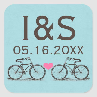 Pegatinas del favor del boda de la bicicleta del pegatina cuadrada