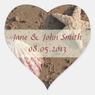 Pegatinas del favor del boda de playa calcomanías de corazones personalizadas