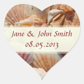 Pegatinas del favor del boda de playa:  Seashells Colcomanias De Corazon