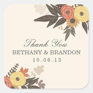 Pegatinas del favor del boda del follaje de otoño calcomanía cuadrada personalizada