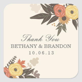 Pegatinas del favor del boda del follaje de otoño pegatina cuadrada
