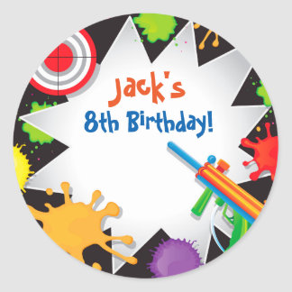 Pegatinas del favor del cumpleaños de la bola de pegatina redonda