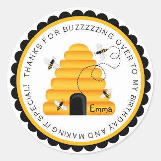 Pegatinas del favor del cumpleaños del abejorro de pegatina redonda