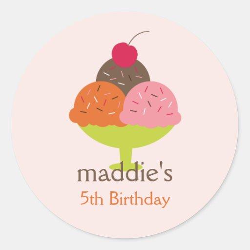 Pegatinas del favor del cumpleaños del helado del