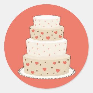 Pegatinas del favor del pastel de bodas del pegatina redonda