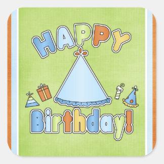 Pegatinas del feliz cumpleaños 4 calcomanías cuadradas personalizadas
