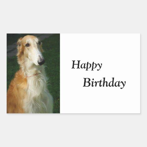 Pegatinas del feliz cumpleaños del perro de la rectangular altavoces