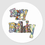 Pegatinas del feliz cumpleaños pegatinas redondas
