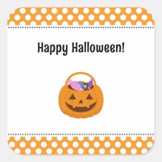 Pegatinas del feliz Halloween de la calabaza Pegatina Cuadrada