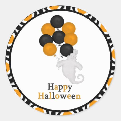 Pegatinas del feliz Halloween del fantasma y de Pegatina Redonda