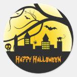 Pegatinas del feliz Halloween Etiqueta Redonda