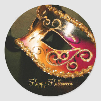 Pegatinas del fiesta de Halloween de la mascarada Etiqueta Redonda
