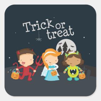 Pegatinas del fiesta de Halloween del truco o de Calcomanías Cuadradass Personalizadas