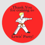 Pegatinas del fiesta de Karate Kid modificados Etiqueta Redonda