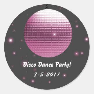 Pegatinas del fiesta de la bola de discoteca pegatina redonda
