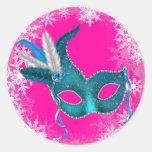 Pegatinas del fiesta de la mascarada de las rosas pegatinas redondas
