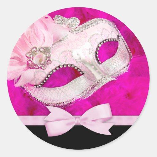 Pegatinas del fiesta de la mascarada de las rosas pegatina redonda