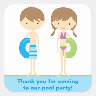 Pegatinas del fiesta de los niños de la piscina