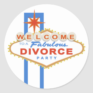 Pegatinas del fiesta del divorcio de Las Vegas Etiquetas Redondas