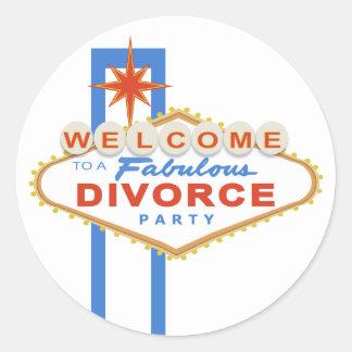 Pegatinas del fiesta del divorcio de Las Vegas Pegatina Redonda