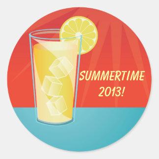 Pegatinas del fiesta del verano de la limonada pegatina redonda
